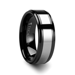 HELSINKI Raised Center Black Ceramic with Tungsten Inlay Ring - 6mm & 8mm