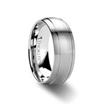 MAGNUS Brushed Dome with Two Polished Grooves Tungsten Carbide Ring