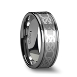 PALATINE Laser Engraved Tungsten Rings with Celtic Pattern - 6mm - 10 mm