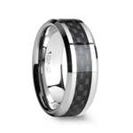 MAXIMUS Tungsten Carbide Wedding Ring with  Black Carbon Fiber Inlay - 4mm - 12mm