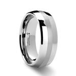 PONTUS Domed Platinum Inlaid Tungsten Carbide Ring - 8mm