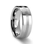 IVAR Platinum Inlaid Flat 8mm Tungsten Wedding Band