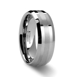 HALSTEN Platinum Inlaid Beveled Tungsten Carbide Ring - 6mm & 8mm