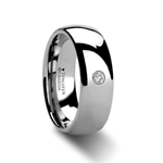 BERKSHIRE Rounded Tungsten Ring with Diamond - 4mm - 8mm