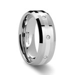 STAFFORD Beveled Tungsten Diamond Carbide Ring with Silver Inlaid - 8mm