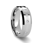 NEWPORT Beveled Tungsten Diamond Carbide Ring - 8mm
