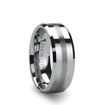 GRENOBLE Beveled Tungsten Carbide Ring with Brushed Stripe - 6mm & 8mm
