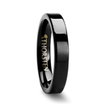 BELLONA 4mm Flat Black Tungsten Carbide Wedding Band