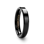 VIENNA Black Tungsten Carbide Ring with Beveled Edges - 4mm & 6mm
