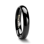 PHOEBE Domed 4mm Black Tungsten Carbide Wedding Band