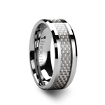 ULTIMUS Beveled Tungsten Carbide Ring with White Carbon Fiber Inlay 4mm - 12mm
