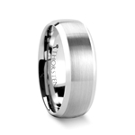 POLARIS Domed Brushed Finish Tungsten Ring with Polished Bevels - 6mm & 8mm