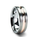 ZEUS Pipe Cut Brush Finished Tungsten Carbide Ring with Rose Gold Plated Groove - 4mm - 10mm