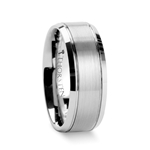 CRONUS Brushed Center Tungsten Wedding Carbide Ring with Polished Bevels- 6mm & 8mm
