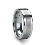 CHRONOS Flat with Grooves Polished Edges and Brush Center Tungsten Carbide Ring 6mm & 8mm
