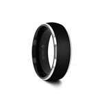 MASERATI Rounded Black Tungsten Band with Polished Beveled Edges - 4mm - 10mm
