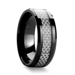 MYSTIQUE Beveled Ceramic Ring with White Carbon Fiber Inlaid - 8mm