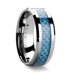 AUGUSTUS Tungsten Carbide Ring with Blue Carbon Fiber Inlay - 4mm - 10mm