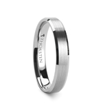 SLYVIA Beveled Edge Tungsten Wedding Band with Brushed Center