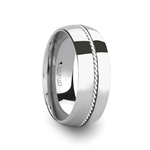 LYON Domed Tungsten Carbide Ring with Braided Silver Inlay - 8 mm