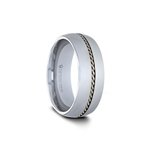 GOLDWYN Domed Tungsten Carbide Ring with Braided 14k Gold Inlay - 8mm