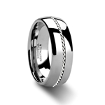 PHYTHEON Domed Tungsten Carbide Ring Braided Platinum Inlay - 6mm & 8mm