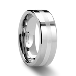 LETHOLDUS Palladium Inlaid Flat Tungsten Ring - 6mm & 8mm