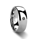 BRISBANE Domed Black Diamond Tungsten Ring -  8mm
