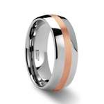 ALPHEUS Rose Gold Inlaid Domed Tungsten Ring - 6mm & 8mm