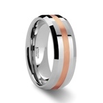 CHIRON Rose Gold Inlaid Beveled Tungsten Carbide Ring - 6mm & 8mm