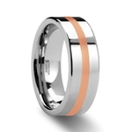 CERBERUS Rose Gold Inlaid Flat Tungsten Carbide Ring - 6mm & 8mm