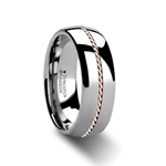 ROSSMOOR Braided 14k Rose Gold Inlay Domed Tungsten Ring - 6mm & 8mm