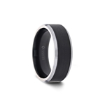 ASTON Black Brushed Center Tungsten Wedding Ring with Polished Beveled Edges - 6mm - 8mm