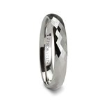 NIVEA 288 Diamond Faceted White Tungsten Carbide Ring - 4mm & 6mm
