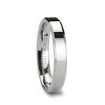 BELLISSIMA Ladies White Tungsten Wedding Band with Beveled Edges 4 mm