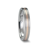 ZENA 4 mm Flat Brushed Finish Tungsten Ring with Rose Gold Channel