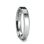 TEREZZA 4 mm Beveled Tungsten Carbide Wedding Ring with Narrow Rectangular Facets