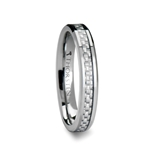 ULTIMA Beveled Tungsten Carbide Ring with White Carbon Fiber Inlay - 4mm & 6mm