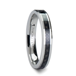 MAXIMA 4 mm Beveled Tungsten Wedding Ring with Black Carbon Fiber