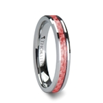 PINK Beveled Tungsten Carbide Ring with Pink Carbon Fiber - 4mm  & 6mm