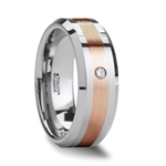 ENZO Beveled Tungsten Carbide Ring with Diamond and Rose Gold Inlaid - 8mm