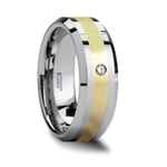 FABIAN 14K Gold Inlaid Beveled Tungsten Carbide Ring with Diamond - 8mm