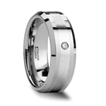 LAURENT Beveled Tungsten Ring with Platinum Inlaid and Diamond - 8mm