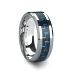 AUXILIUS Black & Blue Carbon Fiber Inlay Tungsten Carbide Ring - 6mm - 10mm