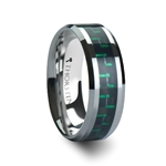 ATRONIUS Tungsten Carbide Ring with Black & Green Carbon Fiber Inlay - 6mm - 10mm