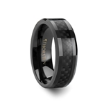ONYX Black Carbon Fiber Inlaid Black Ceramic Wedding Band - 4mm - 10mm
