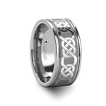 BOSTON Celtic Pattern Laser Engraved Tungsten Wedding Band Wide - 10 mm