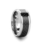 INDIANAPOLIS Black Carbon Fiber Inlay Tungsten Carbide Ring - 10mm