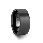 EL PASO Pipe Cut Black Tungsten Carbide Ring with Brushed Finish - 10 mm