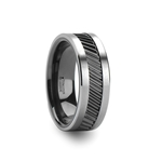HELIX Gear Teeth Pattern Black Ceramic and Tungsten Carbide Ring - 6mm & 8mm